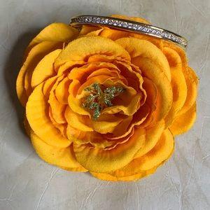 Rhinestone Gold-Tone Fashion Hinged Bracelet